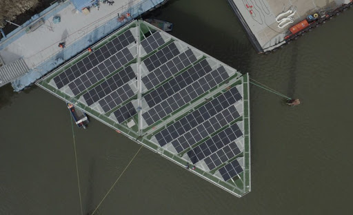 This offshore floating solar platform can withstand hurricane winds