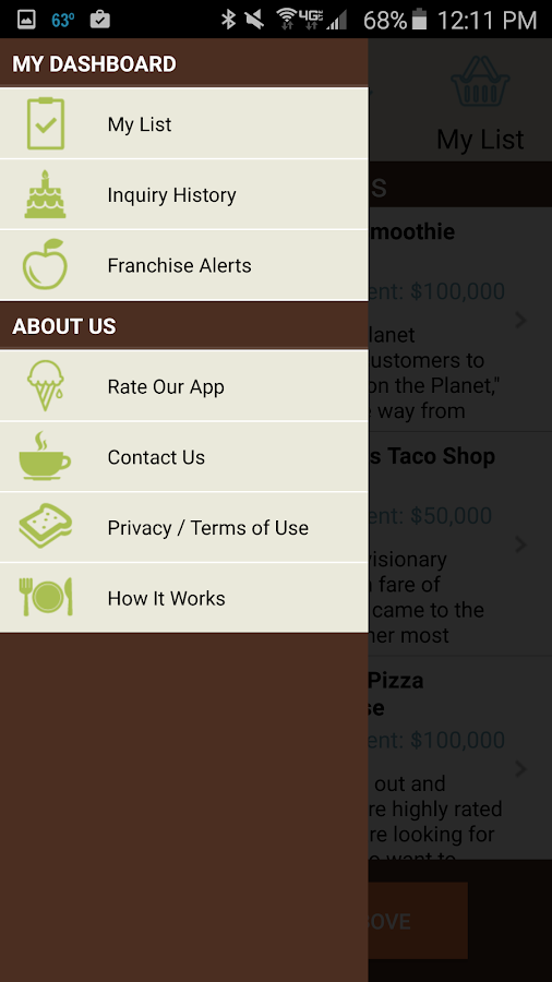 Food Franchises- screenshot