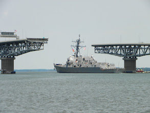 """Photo: The Yorktown bridge swung open for the """"War Ship"""" while eating lunch in our cockpit."""