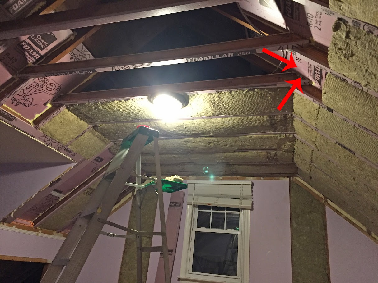 Insulation And Airtight Drywall In Room With Sloped Walls