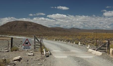 Cattle Grid und Schild begrenzen eine Schafweide in der Tankwa Karoo