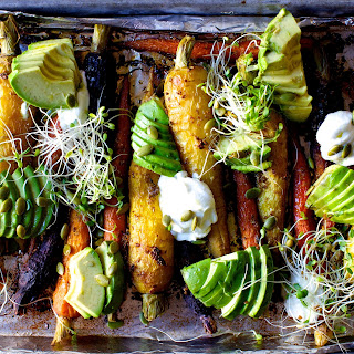 Spiced Roasted Carrots with Avocado and Yogurt.