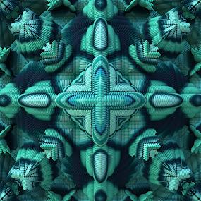 Cool Mint by Lyle Hatch - Illustration Abstract & Patterns ( kaleidoscope, mandelbulb, 3d, 3-d, mirrored, mint, teal, beauty, fractal, aqua, three dimensional, mandala )