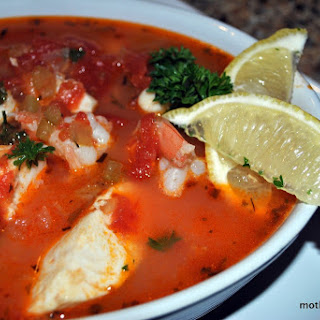 Cioppino with Tilapia, Scallops and Prawns