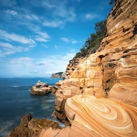Swirls by Geoffrey Wols - Landscapes Waterscapes ( coast, rocks, blue, beach, maitland bay, long exposure, water,  )
