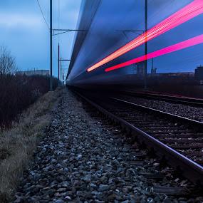 Time2run by Carlos Kiroga - Transportation Trains ( red, urban, long exposure, time, remote, tracks, lights, speed, urbex, train )