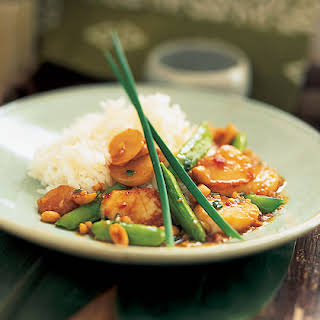 Kung Pao Scallops with Snap Peas.