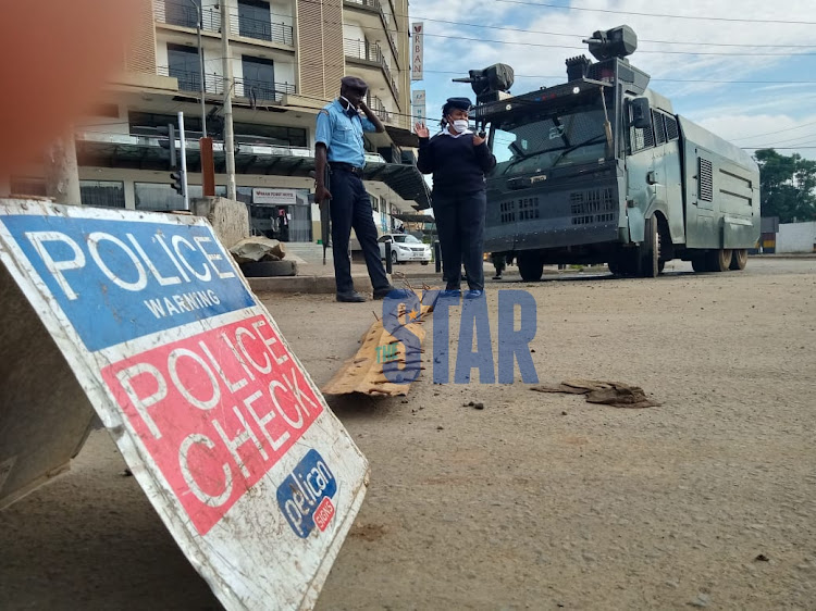 Police roadblock mounted outside Pumwani Hospital in Nairobi.Photo/ Fredrick Omondi