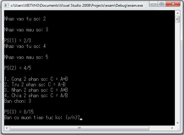 Sử dụng struct để biểu diễn phân số