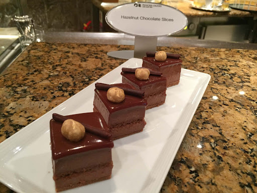 Hazelnut chocolate slices are shown during the unveiling of Chocolate Journeys on Ruby Princess.