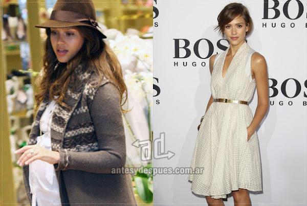 Antes y despues de Jessica-Alba embarazada