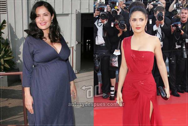Antes y despues de Salma Hayek embarazada