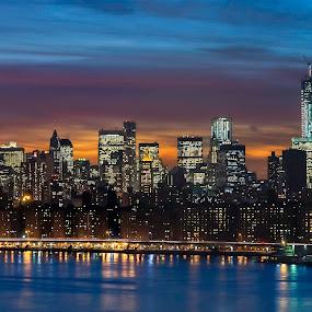 Manhattan Sunset by Chad Weisser - City,  Street & Park  Skylines ( weisser photography, sunset, east river, manhattan, nyc, new york, pwcskylines, night, lights,  )