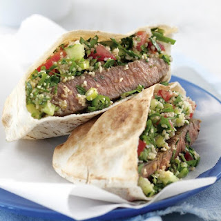 Lamb and Cucumber Tabbouleh Pitas.