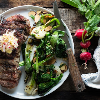 Grilled Steaks with Broccoli Rabe and Radish Butter Recipe