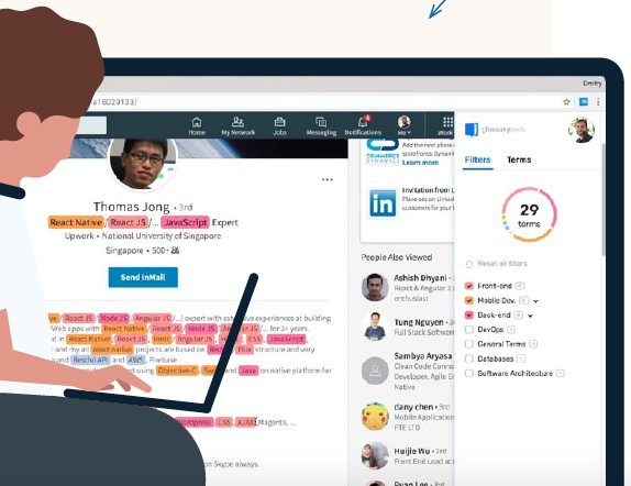GlossaryTech highlights tech terms on profiles and provides a clear definition when you hover over one – no clicking required. Source: LinkedIn