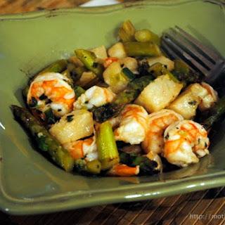 Shrimp and Cod Saute with Asparagus.
