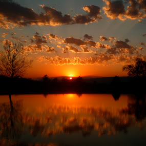 Day is Done by Sandra Millsap - Landscapes Sunsets & Sunrises ( clouds, reflection, sunset, peace, landscape, relax, tranquil, relaxing, tranquility )