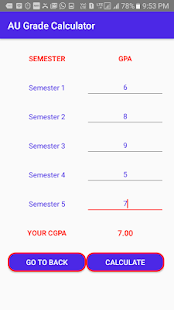 AU CGPA Calculator- screenshot thumbnail