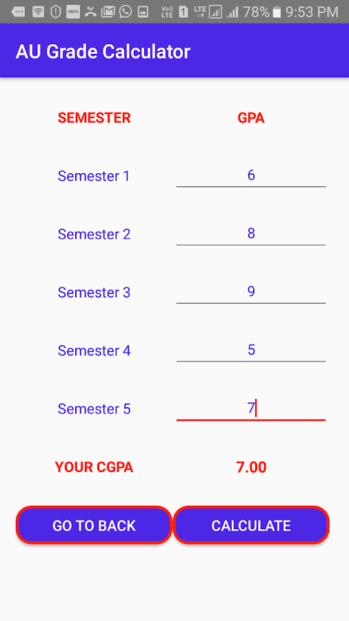 AU CGPA Calculator- screenshot
