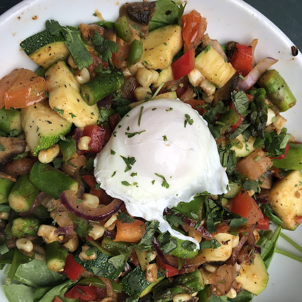 Joe-Veggie with a poached egg. Delicious!