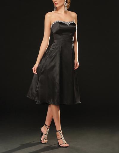 knee#length#black#bridesmaid#dress