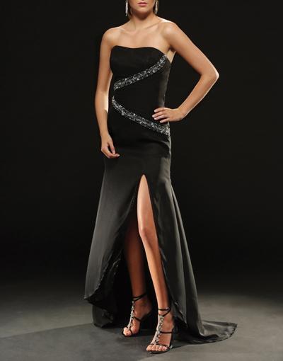 seductive#black#bridesmaid#dress#crossing#jewels
