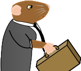 Image: Frank the mouse, clad in Twentieth-century formal wear, carrying a tan-colored briefcase.