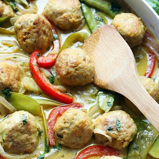 Healthy Green Curry Sweet Potato Chicken Meatballs.