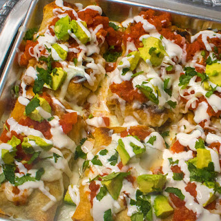 Baked Chimichangas with Cacique Chorizo & Cacique Panela Cheese.