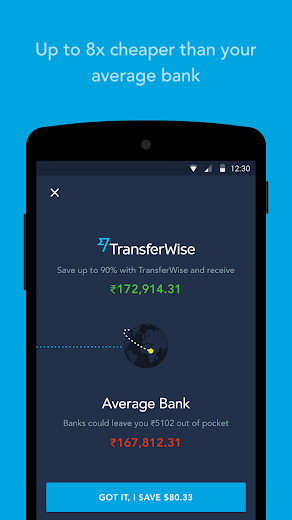 Screenshot 1 for TransferWise's Android app'