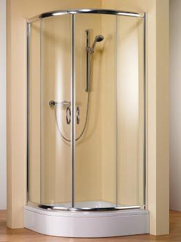 Paroi de douche arrondie avec portes coulissantes, rayon 55 cm