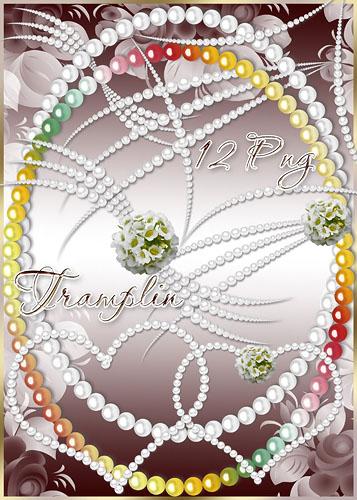 Клипарт – Жемчужные ожерелья, сердечки, завитки