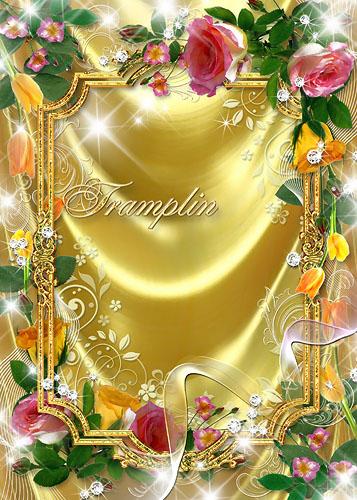 Рамка для фото – Золотая с розами и тюльпанами