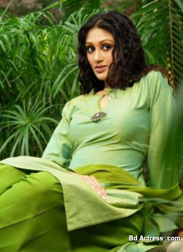 Bangladeshi Model Kushum Sikdar green dress