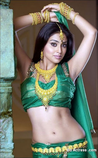 Indian Model Shriya Saran green dress