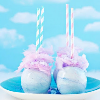 Whimsical Pastel Cotton Candy Apples.