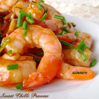 Sweet Chilli Prawns.