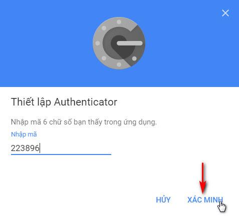 Nhập mã vạch từ ứng dụng Authenticator
