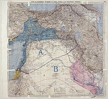 MPK1-426 Sykes Picot Agreement Map signed 8 May 1916.jpg