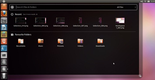 Sceenshot Ubuntu 11.04 dengan fitur lenses