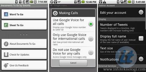Applikasi Android di handphone