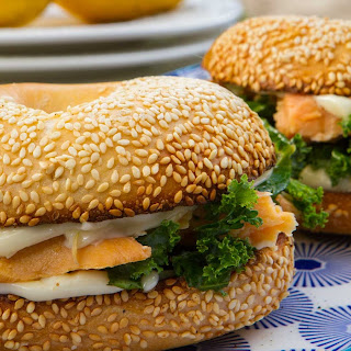Smoked Salmon And Marinated Kale Bagel.