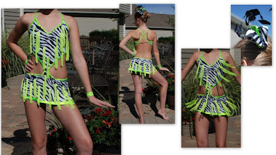 Photo: To buy ( CSD-Shout ) reference name of costume, size, qty needed and copy/past photo to Pam@Act2DanceCostumes.com  Custom Made!     $135.00  qty (1)   Sizes: (1)Small Adult  Custom Made! Unique!!  Amazing!!  This costume has it all....zebra strip with lime green fringe and rhinestones!  Cute hair piece and wristbands.  Built in spankies.  See photo of fringe flying.  Looks amazing on stage!  See photos for details. 7 day returns same condition! Paypal/Credit/Western Union accepted.  US shipping $10 plus 3% paypal fee for costumes over $100  Contact for world wide shipping quote. Thanks!  CSDLA