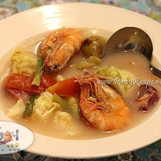 Shrimp Sinigang with Cabbage.