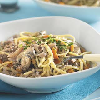 Creamy Beef and Mushroom Spaghetti.