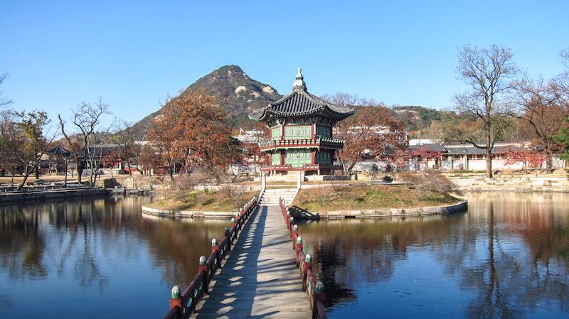 Pabellón Hyangwonjeong en el Palacio Gyeongbokgung