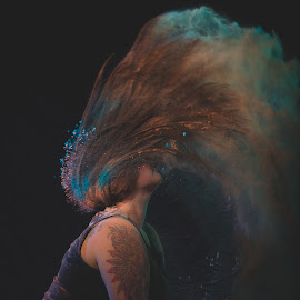 Flour Wave by Andro Andrejevic - People Portraits of Women ( creative lighting, holi powder, tattoo, flour, flour photography )