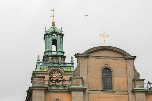 Church-steeple-in-Gamla-stan.jpg - A church steeple in Stockholm's Gamla stan neighborhood.