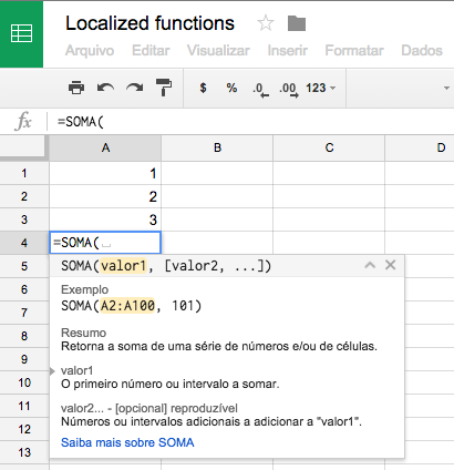 View functions in Google Sheets in your preferred language